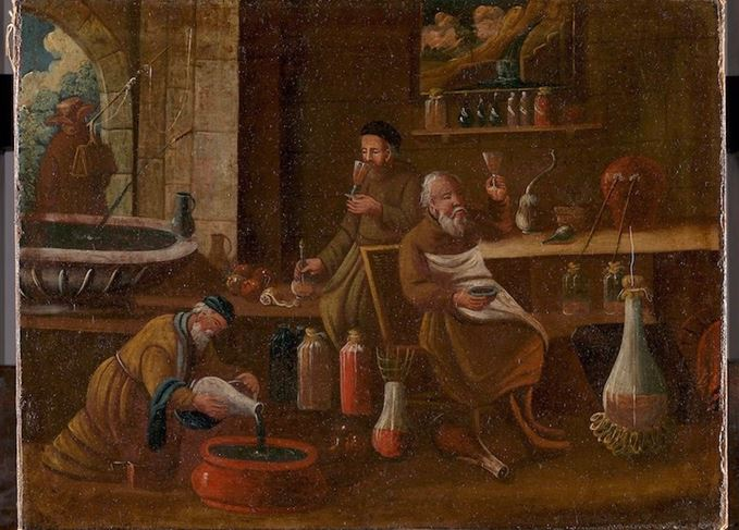 Learned men: Monks making and sampling wines, spirits and medicines (Photo: Wellcome Collection)